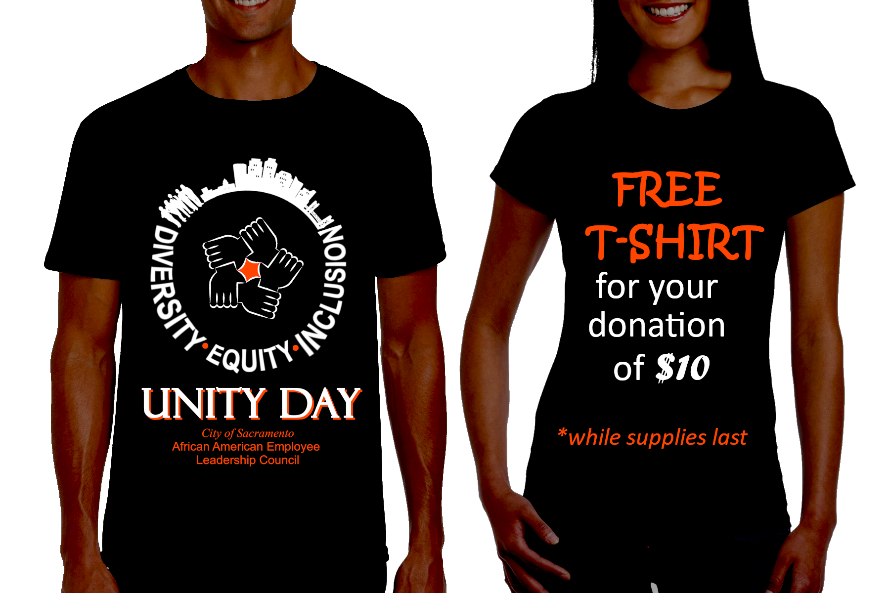 Donate $10 and receive a free Unity Day t-shirt while supplies last.